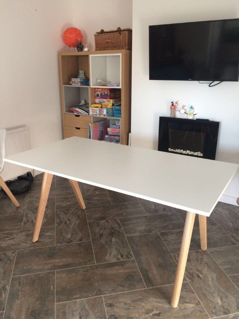 White Extending Dining Table With Washed Oak Legs Habitat