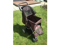 Pet stroller/pushchair foxhunter in brown