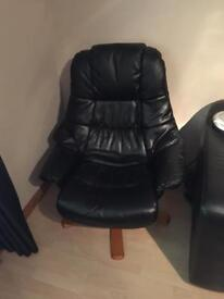 Black Leather lazy boy type swivel recliner chair