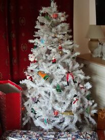 White Christmas tree large with stand