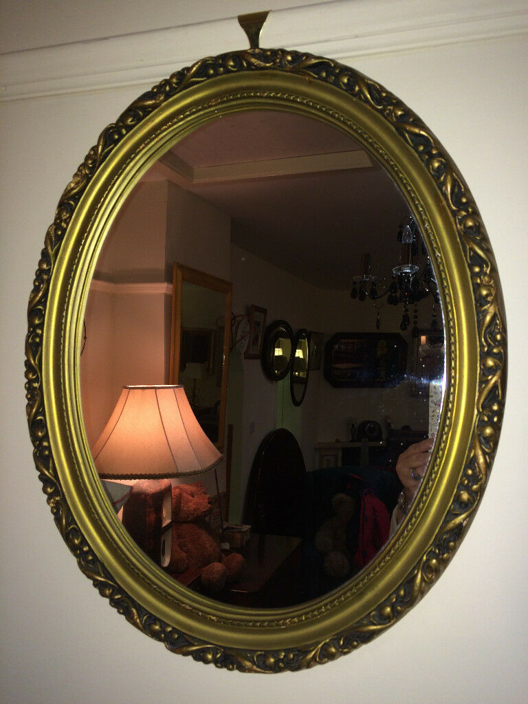 Lovely Ornate Gilt Carved Antique Oval Mirror Gold Wood Frame In