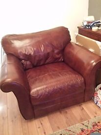 Brown/Tan Leather Armchair