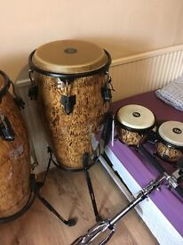 MARATHON DESIGNER SERIES 12 1/2, 11 3/4 & 11 INCH CONGAS WITH STANDS & 2 'HARD CASE' CASES.