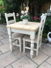 Solid Pine Painted Dining Table And Chairs