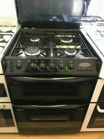 CANNON 60CM GAS DOUBLE OVEN COOKER IN BLACK