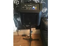 KITSOUND PORTABLE RECHARGABLE PA SYSTEM, BUSKERS AMP, with free speaker stand and lightning dock
