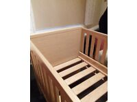 Cot bed 3 in 1 with 3 height positions , mattress included