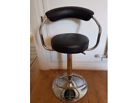 Black Leather Height Adjustable Stool Excellent Condition