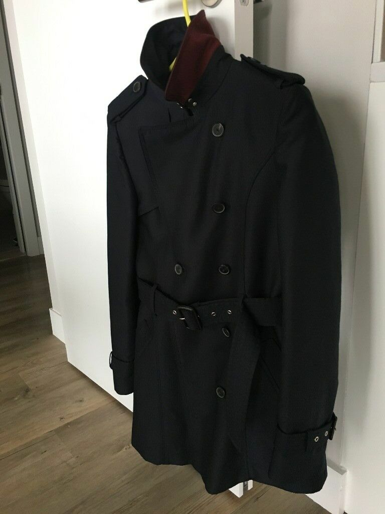 Zara Woman Navy Trench Coat Like New Size S Maroon