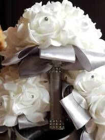 White, grey and silver foam flower bouquets