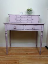 Gorgeous Upcycled Vintage Serpentine Writing desk Console Table