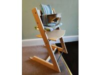 Stokke Tripp Trapp highchair with baby set, harness and seat cushion
