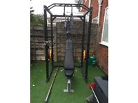 Squat rack/power cage, multi adjustable bench incline/decline, 7ft bar, 95kg Olympic weight plates