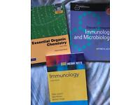 Immunology, microbiology and organic chemistry books