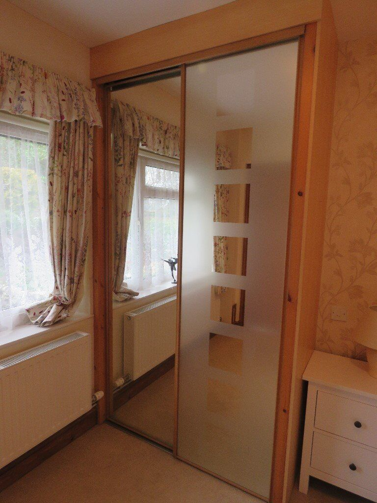 2 Sliding Wardrobe Mirror Doors And Running Rails For Floor And Ceiling