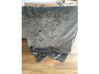 Grey crushed velvet curtains 228x229