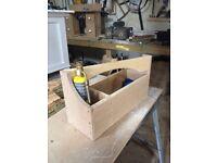 Wood plumbers tool box for soldering kit