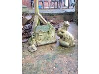Garden stone ornaments, Duck, Squirrel and watermill