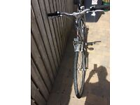 """Men's bicycle 21 """" frame shimano 21 gears silver colour . Great touring bike"""