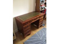 Reproduction, leather top, captains' desk with glass protector - Lorna Dewey reproduction in yew
