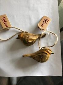 Wooden hanging birds