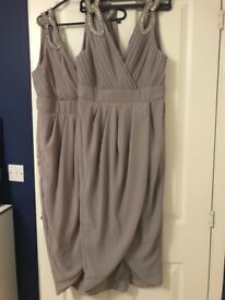 2 Bridesmaid Dresses - size 14 & 12 - Lilac