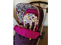 Mamas and Papas Sola in Plum Petal with matching footmuff