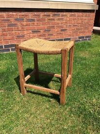 Old stool with rattan (?) seating, believed to be oak