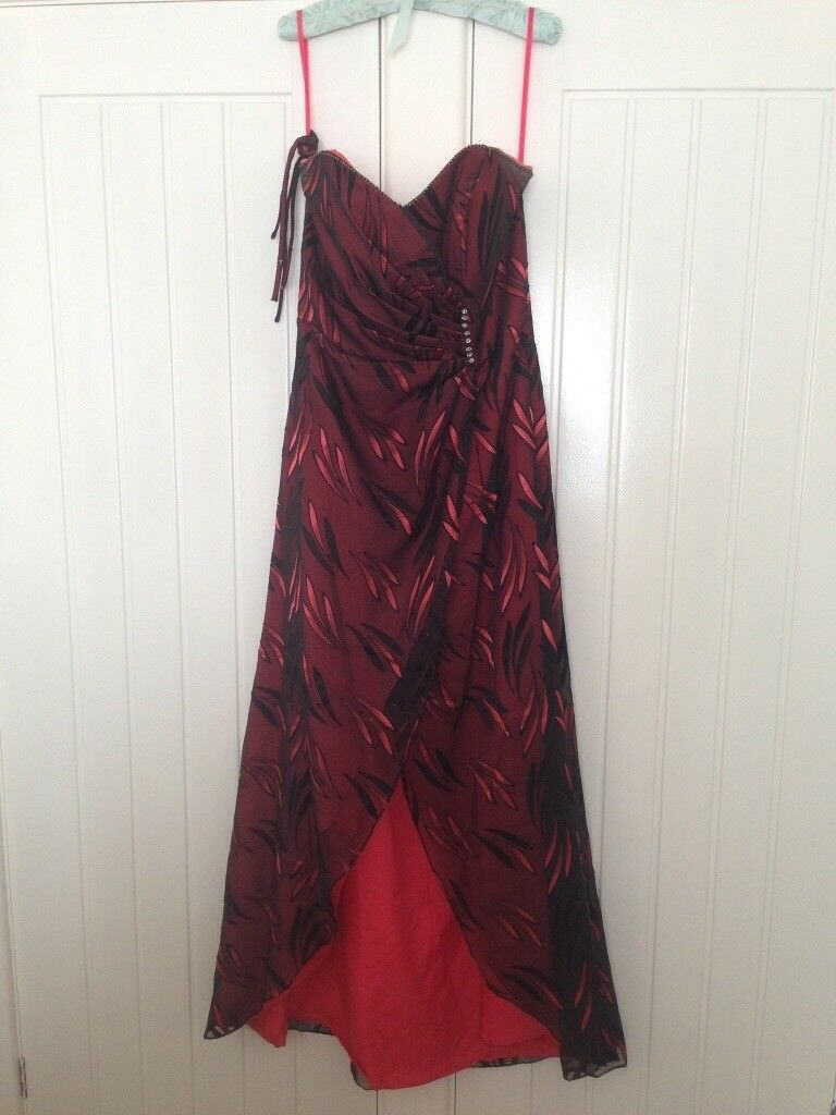 Beautiful cerise & black full length evening dress Size 14