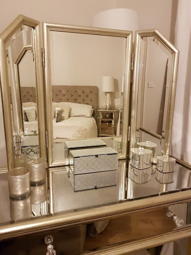 next mirrored glass bedroom furniture incl chest 2 bedside tables dressing table with. Black Bedroom Furniture Sets. Home Design Ideas