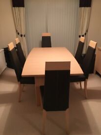 Beech Extendable Dining Room Table & 6Chairs