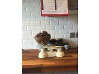 Antique refurbished cream scales