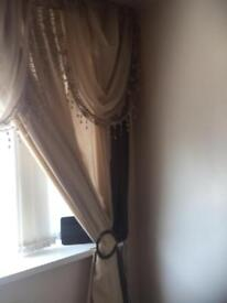 CREAM CURTAINS 66X90 BROWN VOILES 46X90 WITH 5X FILIGREE CREAM LACE TRIM SWAGS RSP £125