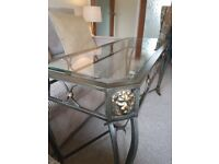 Large Glass and Metal 'Versace' style Console Table
