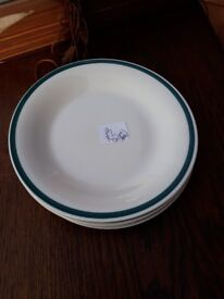 Set of 4 Green rimmed side plates