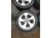 BMW E90 3 series Ronal 5 spoke alloys, used condition with worn tyres, ideal for winter tyres.