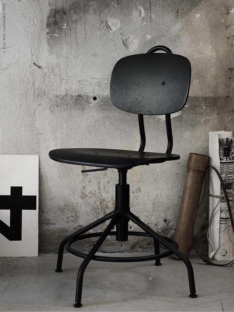 Ikea Kullaberg Office Industrial Home Black Swivel Chair Adjustable Rotating In
