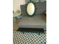 black steel frame mirrow and Lack Wall Shelve 80cmx20cm Display good condition