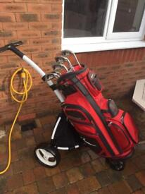 Golf clubs, trolley and bag £115
