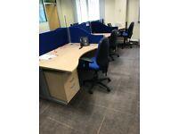 Commercial Grade office desk - Full wave shape beech colour modern