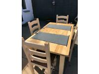 Dining table and chairs farmhouse style