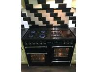 Rangemaster 110 Duel Fuel Cooker Black with Safety Lid