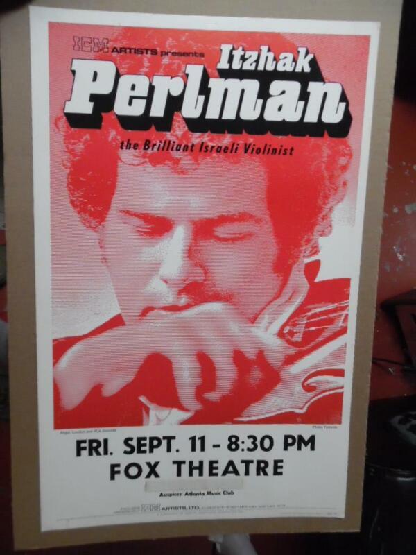 1987 Itzhak Perlman Atlanta Violin Concert Window Card Poster Israeli Violinist