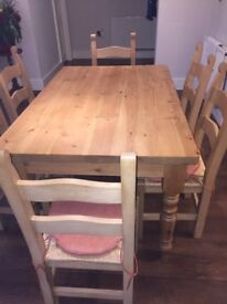 For Sale Farmhouse Kitchen Table and Six Chairs / seat pads & Table Protector