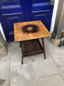 Rosewood and Inlaid Two Tier Side Table. In good condition,