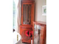 Corner display unit and storage & wood/glass display cabinet