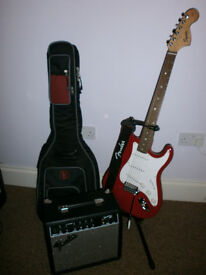 Squire Strat by Fender Guitar For Sale with Amp, Bag and Stand
