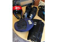 Kickboxing sparring gear and pads