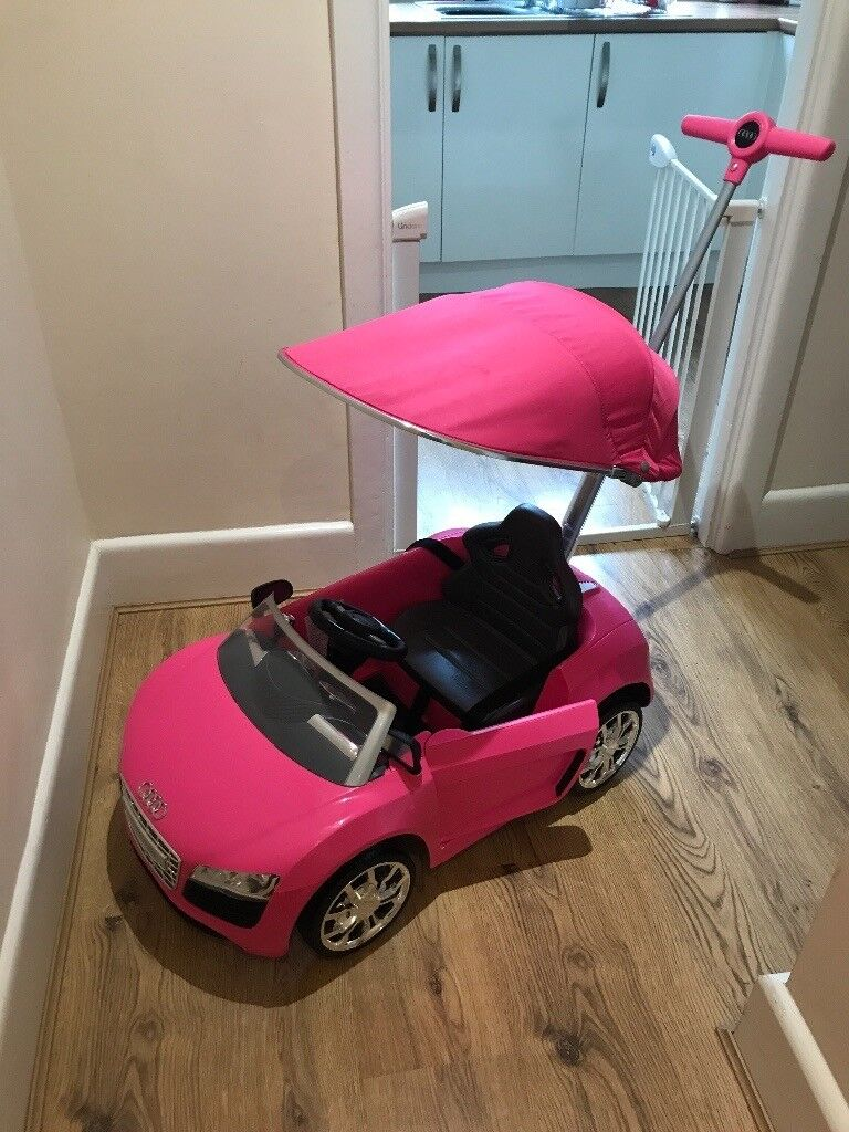Pink Audi R8 Spider kids push car