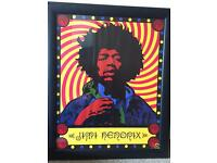Framed Jimi Hendrix authentic poster